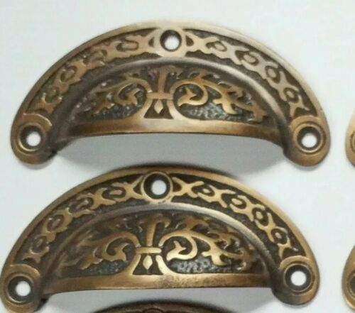 "2 antique Victorian style vintage brass apothecary bin pull handles 3 7/16"" #A5"
