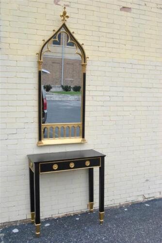 CARVERS GUILD GOTHIC REVIVAL STYLE  FOYER MIRROR & TABLE IN BLACK & GOLD