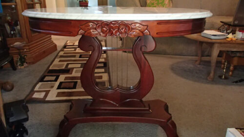 Victorian Lyre Harp Mahogany Wood Oval Side / Parlor Table W/ Marbled Top