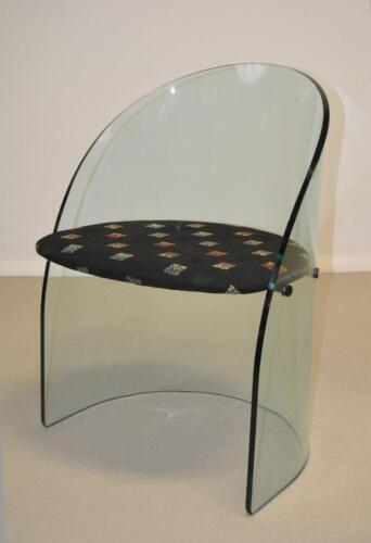 RARE MID CENTURY MODERN BENT GLASS TUB CHAIR CIRCA 1980'S