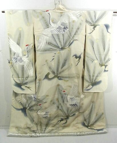 Silver and White Stunning Uchikake Wedding Kimono with Cranes and Pine!!