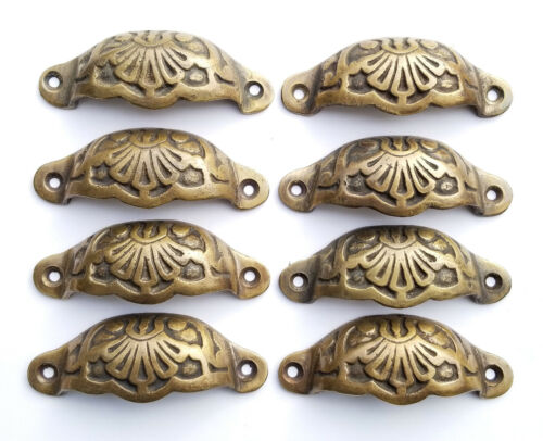 """8 Apothecary Drawer Cup Bin Pulls Handles Antique Victorian Style 3 9/16""""  #A2"""
