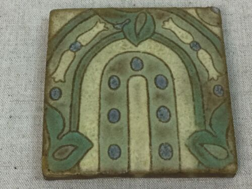 Antique Tile Ceramic Vintage Old Art Nouveau Architectural Reclaim