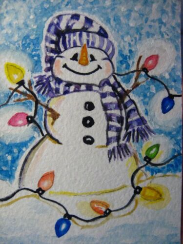 Watercolor Painting Winter Snow Snowman Christmas Lights Decorations ACEO Art