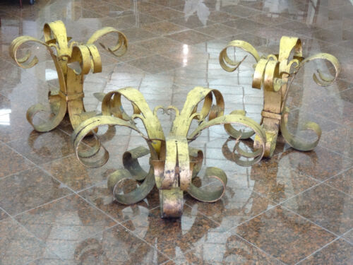SET of 3 VINTAGE SPANISH SCROLL LEG GILDED WROUGHT IRON SIDE TABLE COFFEE TABLE