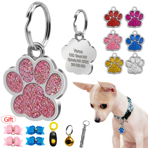 Glitter Paw Print Custom Pet Dog Tags Disc Engraved Cat ID Tags with Free Gift