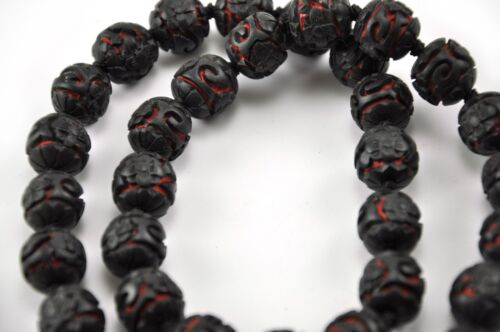 Vintage Chinese Deep Carved Black Red Cinnabar Necklace Flower Filigree 24""