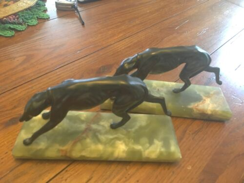Art Deco Greyhound Bookends Bronze on Marble Base 1930's