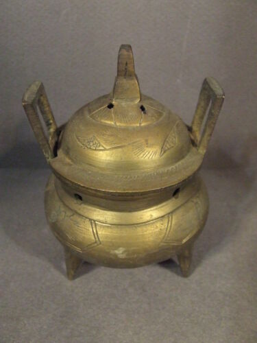 VINTAGE CHINESE METAL FLORAL CENSER INCENSE BURNER MARKED CHINA