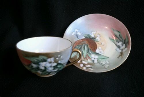 Antique Hand Painted LILY OF THE VALLEY Tea Cup & Saucer M &  C Austria