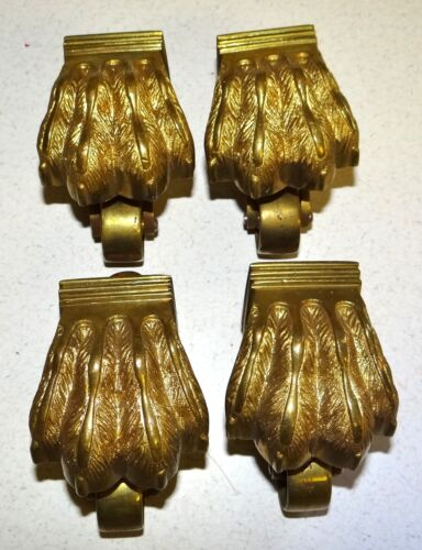 Set of 4 Vtg Solid Brass Claw Foot Furniture Casters Wheels Restoration Toe Cap