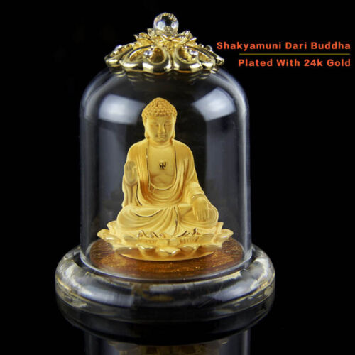 Pure Flocking Alluvial Gold Plating Chinese Shakyamuni Buddha Statue Decoration