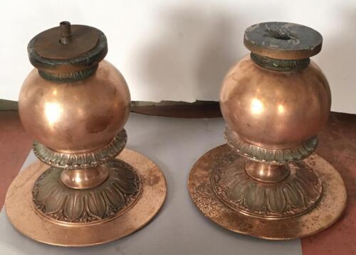 Heavy Pair Brass Architectural Bases Garden Bench Light Fixture Table Footing