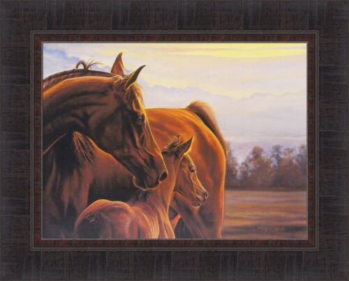 AT HER SIDE by Bonnie Mohr 17x21 FRAMED WALL ART Baby Horse Mare Foal Colt Filly