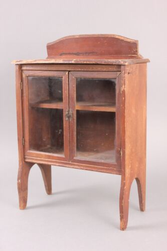 Antique Miniature China Cabinet with Glass-Pane Doors, Ca. 1920