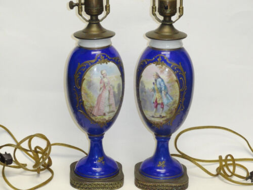 PAIR ANTIQUE 19 c  COBALT BLUE SIGNED MAXANT SAMSON PARIS SEVRES VASE TABLE LAMP
