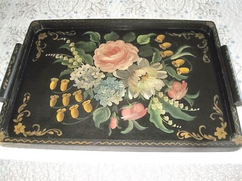 Large Antique Hand Painted Victorian Garden Floral Black Wood Tole Tray