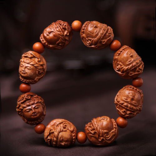 Kwan Yin Head Prayer Beads Chinese Wood Carving Sculpture Bracelet Hand Strings