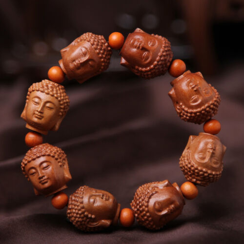 Buddha Head Prayer Beads Chinese Wood Carving Sculpture Bracelet Hand Strings