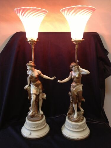 Auguste Moreau Pair of Statue Lamps 2 Nymphs Figural Spelter French Ladies Paris