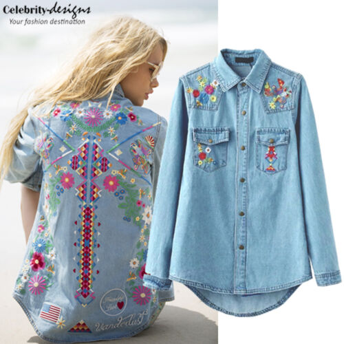 Womens Gypsy Denim Chambray Shirt Embroidered Western Shirt Blouse 6 8 10 -ts75