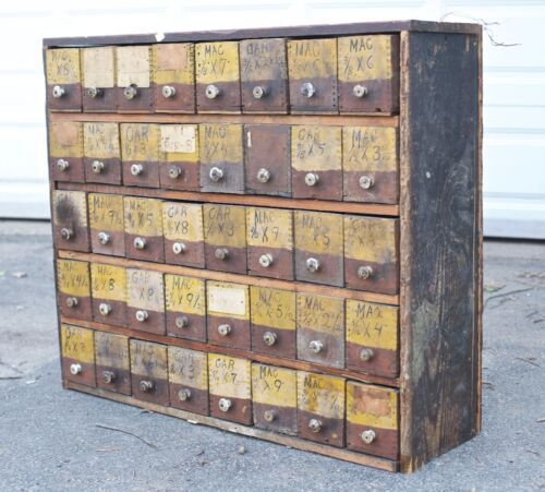 Antique VTG Hardware Apothecary Drawers Cabinet Bin Pulls 1920s Tool Cubby OLD