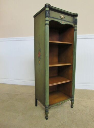 VINTAGE BOOKCASE, ETAGERE, SHELVES, STAND, PAINT DECORATED WITH DRAWER 1940s