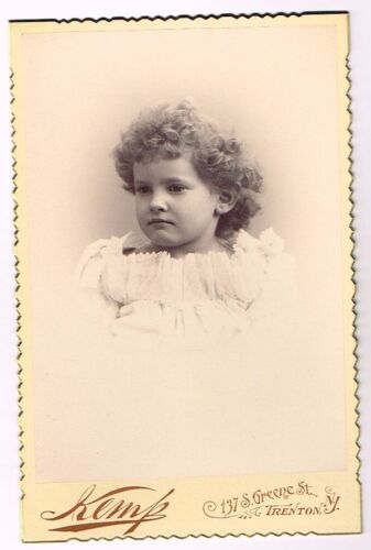 1880s Resting Bitch Face Baby with beautiful curls by KEMP of Trenton NJ