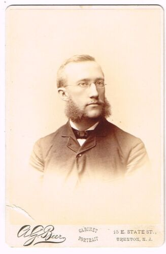 1880s Young Man with Sideburns Beyond His Years by A G Beer of Trenton NJ