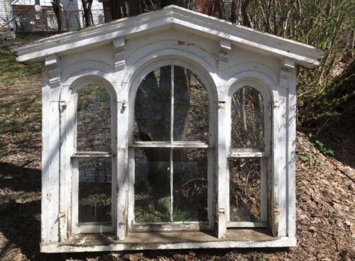 Complete 1850 Antique Triple Arched Victorian Palladian Window Peaked 264-17E