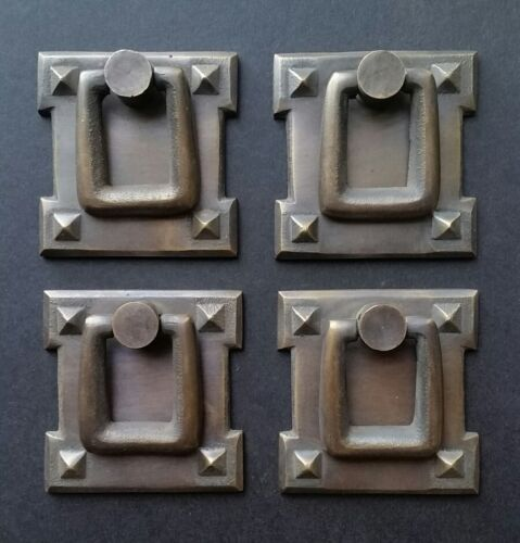 "4 Mission Stickley antique style brass vertical ring handles pulls 2 1/8"" #H38"