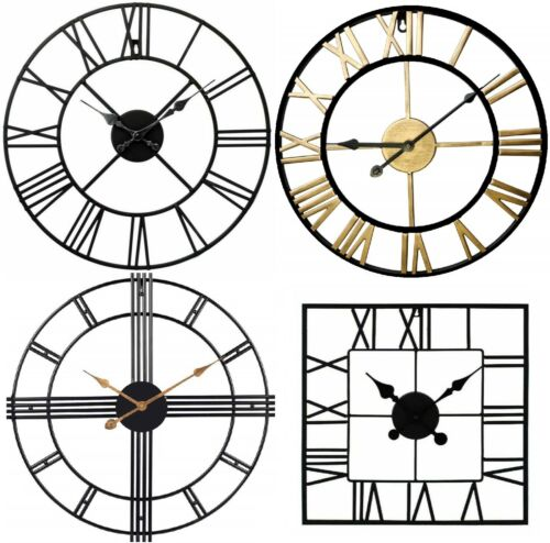 Large Metal Skeleton Roman Numeral Wall Clock Black Round & Square Shape 40/60cm <br/> UK SELLER PREMIUM QUALITY LOWEST PRICE FREE DELIVERY