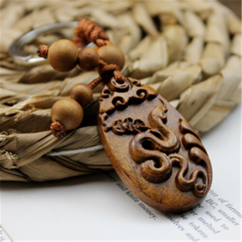Wood Carving Chinese Zodiac Snake Statue Sculpture Pendant Key Chain