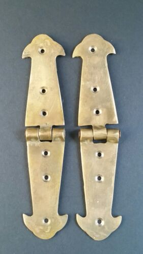 "Pair of Salvaged Antique Brass Door Rustic Hinges Old Trunk Box Lid Long 6"" #X1"