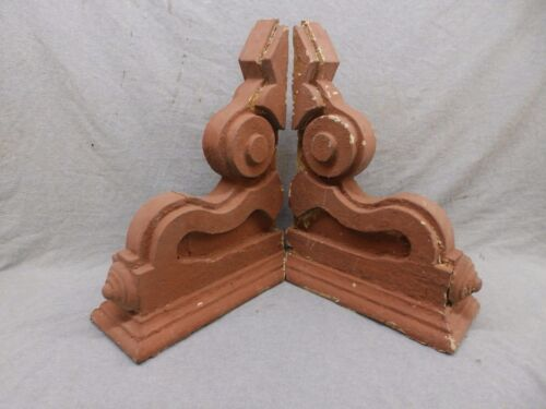 Antique Pair Wood Corbels Shabby Cottage Chic Vintage 489-17R