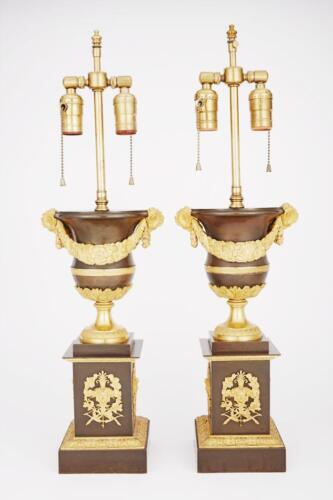 Pair of Charles X Gilt and Patinated-Bronze Urns Lot 449