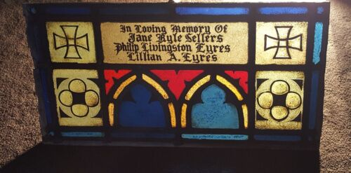 GOTHIC LEADED STAINED GLASS MEMORIAL PANEL 100+ YEAR OLD NEWARK NJ CHURCH