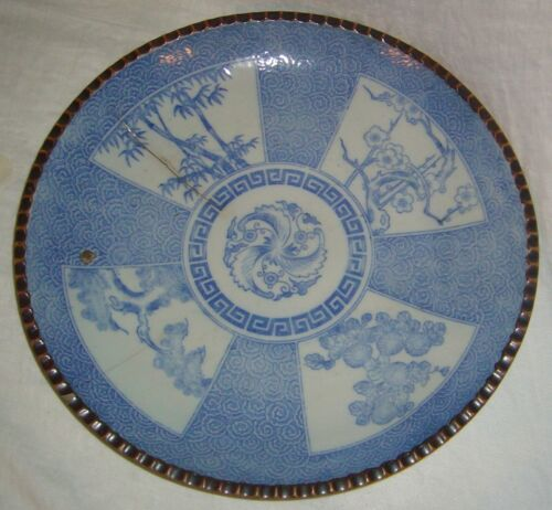ANTIQUE JAPANESE 19th CENTURY ARITA BLUE WHITE CHARGER W/ SAWTOOTH EDGE