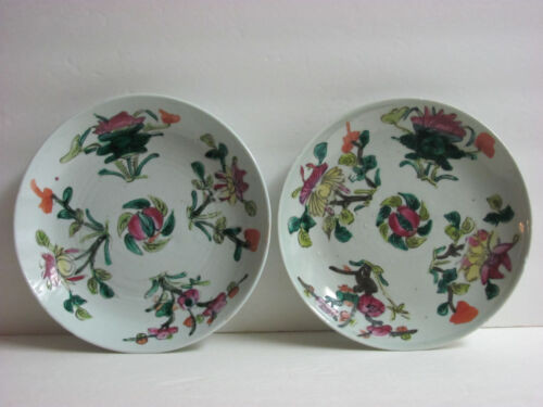 Antique Pair of Chinese Famille Rose Porcelain Plate with Signed