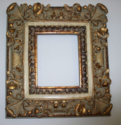 """Vintage Museum/Gallery Quality Wood  Gesso Ornate Gold Gilt Frame 8"""" x !0"""""""