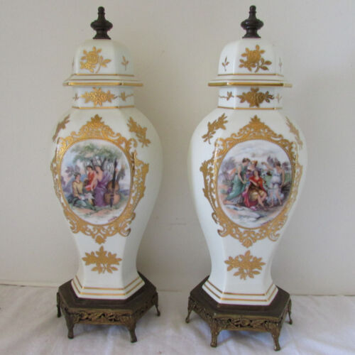 """Antique Pair Noritake Painted & Gilded Porcelain Mantle Sevres Style 14"""" Tall"""