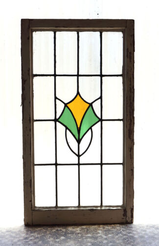 Large Tall Antique Stained Glass Window Art Nouveau Bloom (3017)