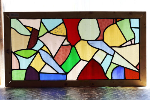 Large Antique Stained Glass Window Ten (10) colors Abstract Design (3020)