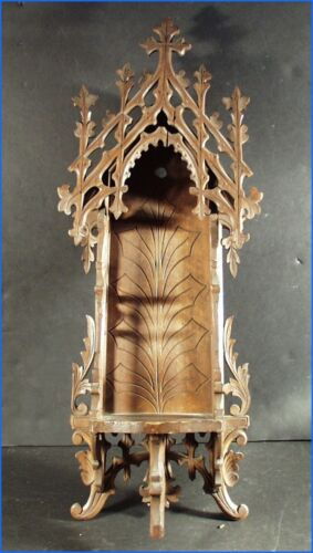 ANTIQUE GOTHIC ORNATE BLACK FOREST CARVED CATHEDRAL CHALICE RELIQUARY SHELF
