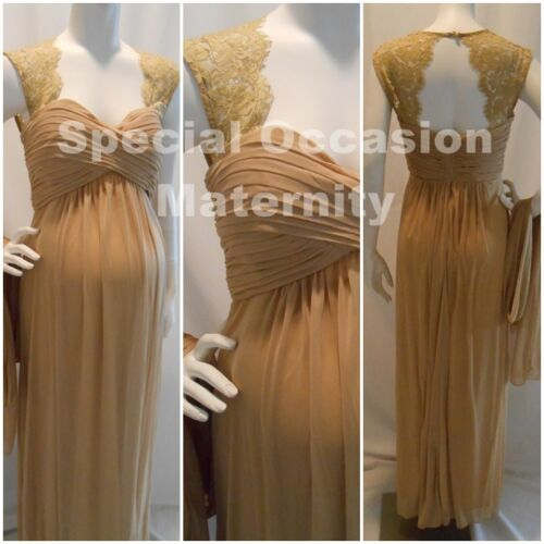 New Long Gold Lace Cutout Back Maternity Dress Gown Chiffon SMALL Weddings NWT