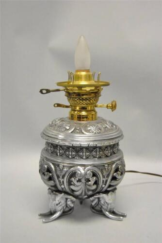 Antique Electrified Oil Lamp in Silver with Figural Elephant Details