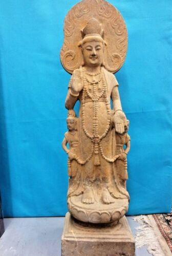 Antique Large Carved Stone Standing Guanyin Museum item, 800 to 1100 years old