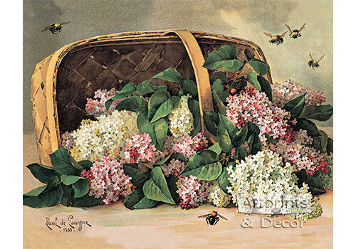 A Basket of Lilacs by Paul de Longpre (Art Print of Vintage Art)