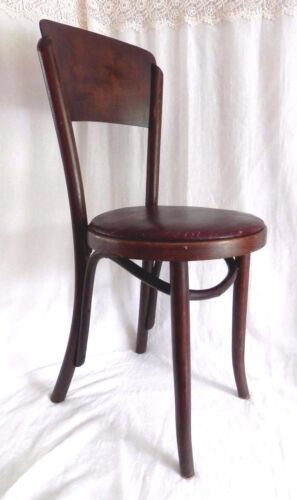 Fischel Thonet Bentwood Chair Vintage Antique Dining Padded Seat Czechoslavokia