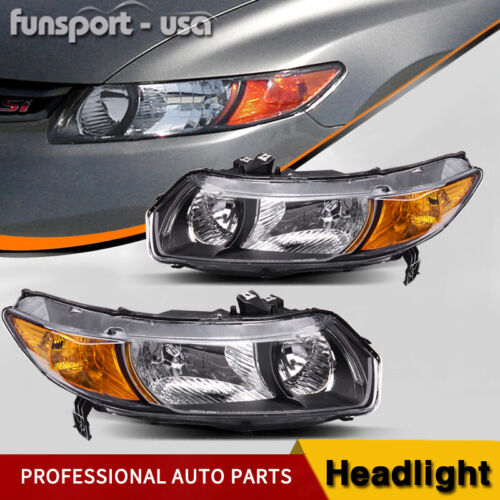 Headlights Assembly Replacement for 2006-2011 Honda Civic Coupe 2Dr Left+Right <br/> Black Housing Headlamps Aftermarket Pair, DOT SAE